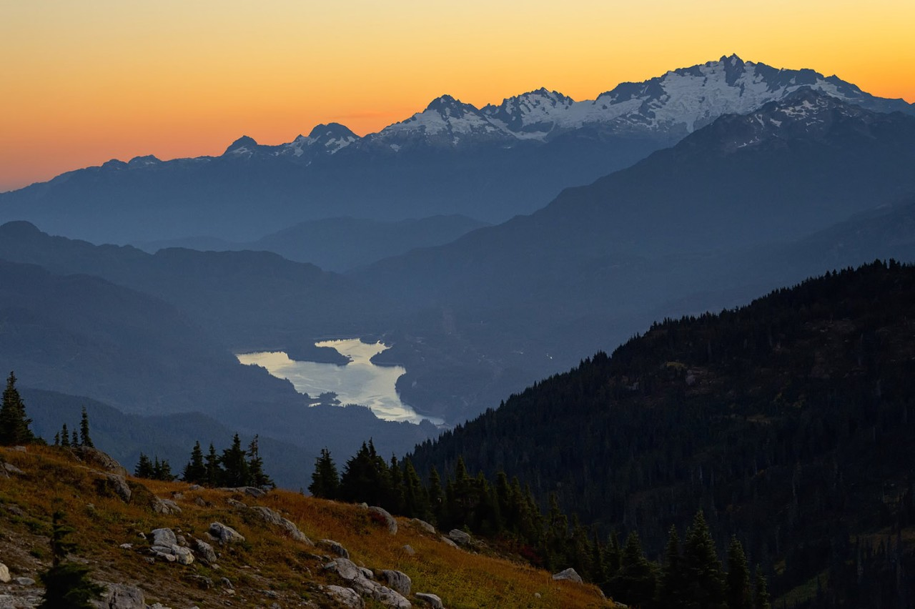 Alpine mountain landscape at sunset, Whistler, BC, Canada