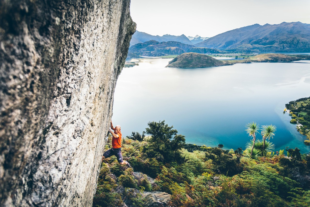 Rock Climbing and Bouldering above the lake and mountains