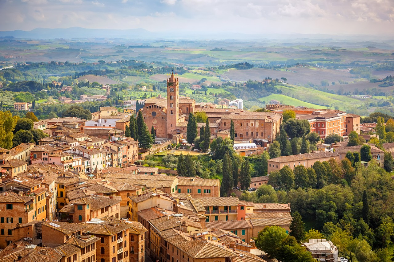 Aerial view over city of Siena, Italy