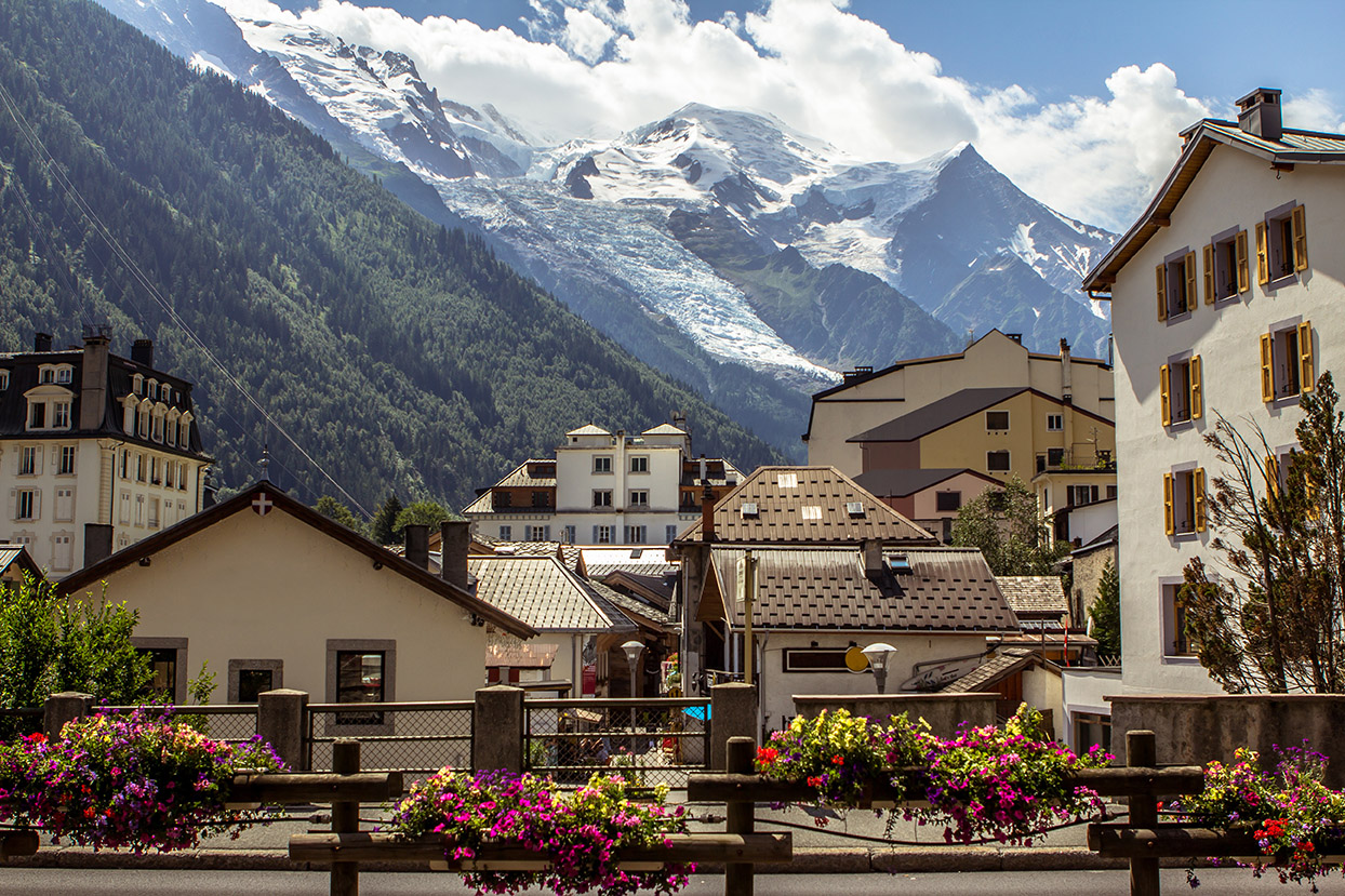 View to Mont Blanc Glacier from Chamonix, France